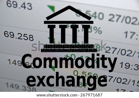 "Building icon with inscription ""Commodity market"". Financial background. - stock photo"