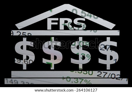 "Building icon with inscription ""FRS"" & dollar sign. - stock photo"