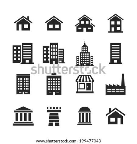 Building Icons Set. Raster illustration. Simplus series - stock photo