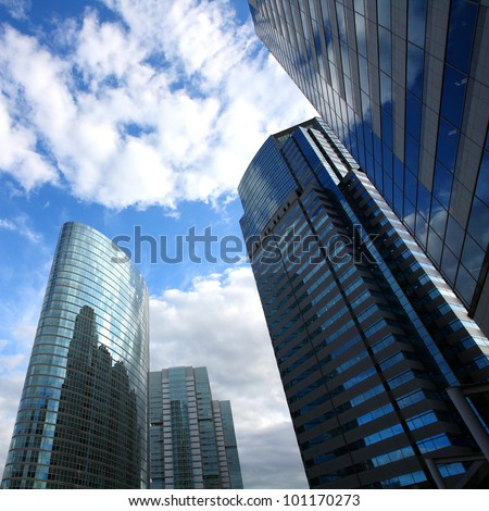 Building in Japan background of blue sky - stock photo
