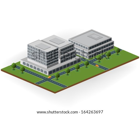 building in shades of gray to green - stock photo