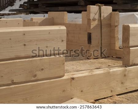 building log houses rectangular piece of wall - stock photo