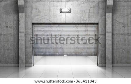Building made of concrete with open roller shutter door. Garage concept. - stock photo