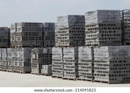 Building materials concrete blocks - stock photo
