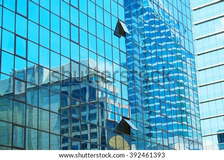 Building mirror glass wall - stock photo