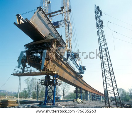 Building of a highway bridge. - stock photo