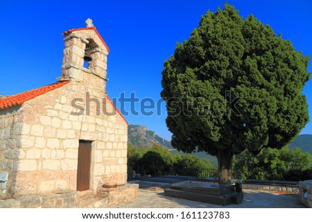 Building of an old orthodox monastery near the Adriatic sea - stock photo