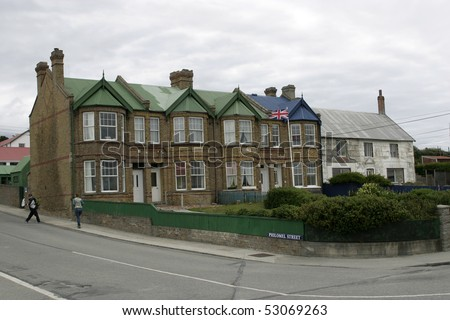 Building of city hall in Port Stanley, Falkland Islands - stock photo