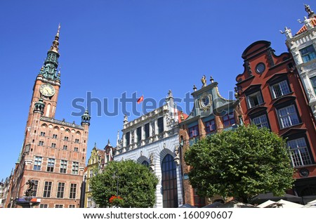 Building of Old Town Hall in the center of City of Gdansk, Poland - stock photo
