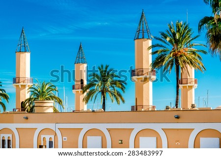 Building of the Fuengirola port (Puerto Deportivo). Costa del Sol, Malaga. Southern Spain - stock photo