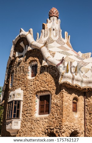 Building of the gatehouse park Guell in Barcelona - Spain - stock photo