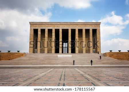 Building of the mausoleum of Ataturk in Ankara, Turkey - stock photo