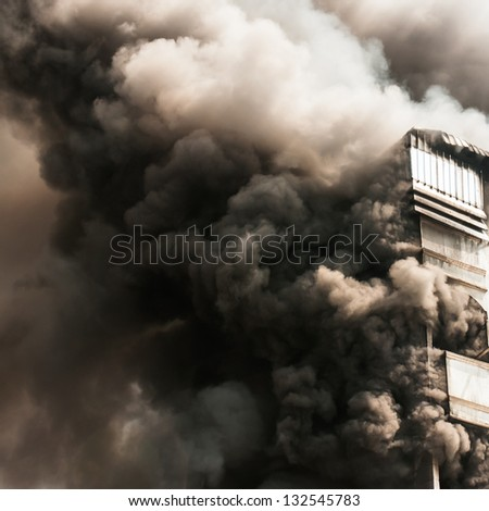 building on Fire - stock photo