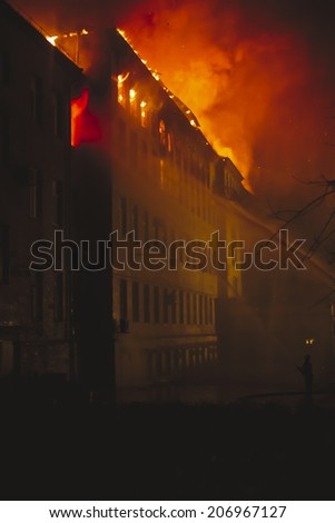 Building On Fire At Night (series) - stock photo