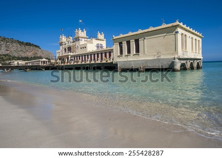 building on the beach, Mondello, Palermo, Sicily, Italy - stock photo