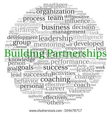 Building Partnerships concept in word tag cloud on white background - stock photo