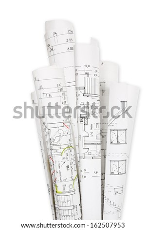 Building plans - stock photo