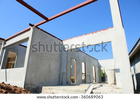 building residential construction house - stock photo
