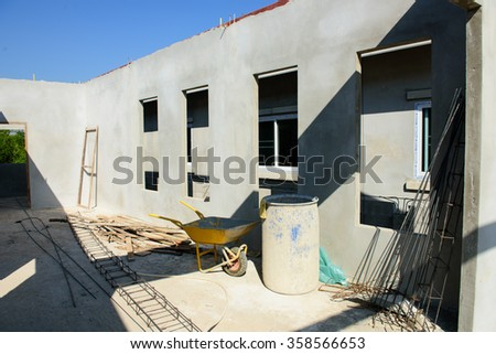 building residential construction house with - stock photo