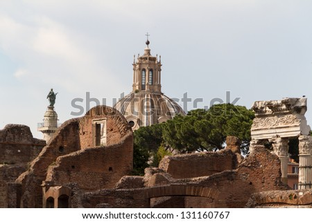 Building ruins and ancient columns  in Rome, Italy - stock photo