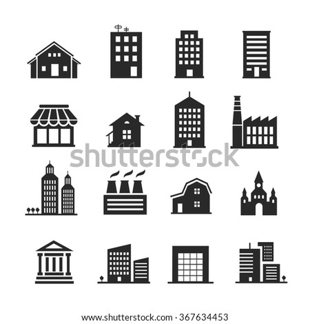 Building shop icon set - stock photo