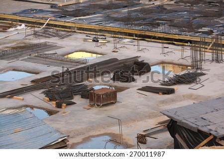 Building site reinforcement on floor slab engineering - stock photo