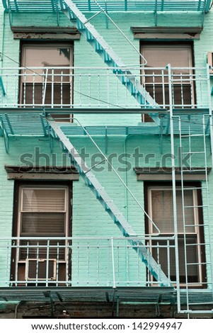 Building stairs, New York, USA Typical building stairs in New York neighbourhoods, USA - stock photo