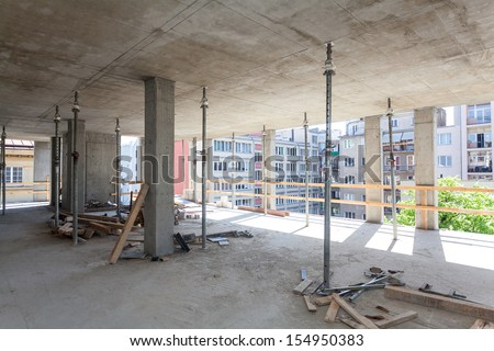 Building structure with metal supporting pipes - stock photo