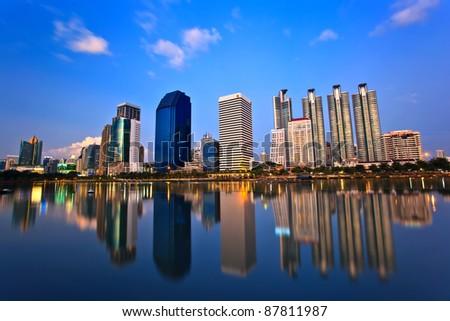 building sunset in Suan Benjakitti, bangkok , Thailand - stock photo