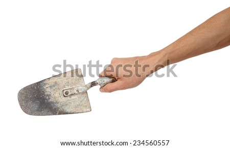 Building trowel in male hand isolated on white background - stock photo
