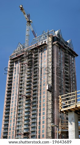 Building under construction in downtown Houston(Release Information: Editorial Use Only. Use of this image in advertising or for promotional purposes is prohibited.) - stock photo