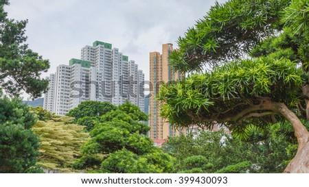 Building view in Nan Lian Garden, Chi Lin Nunnery, Hong Kong - stock photo
