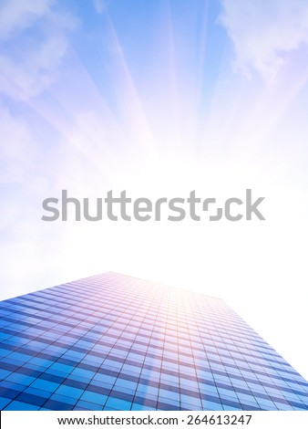 building with lighting on the blue sky - stock photo