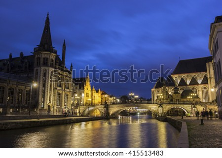 Buildings along the Leie river in the city of Ghent, Belgium - stock photo