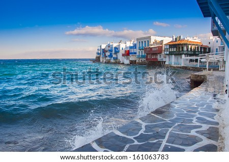 Buildings and balconies in Little Venice in Mykonos Island - stock photo