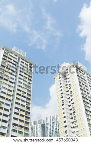 Buildings and high-rise buildings in Singapore. There is a large building and a lot of property in the country. - stock photo