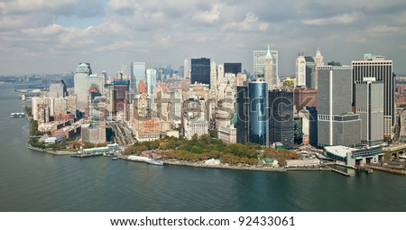 buildings and skyscrapers of Manhattan - stock photo