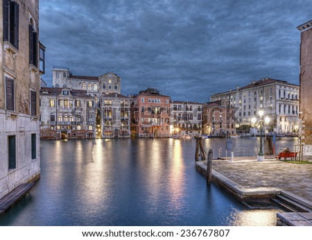buildings at Grand Canal at evening, Venice (Venezia), Italy, Europe - stock photo