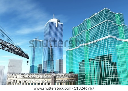 Buildings city - stock photo