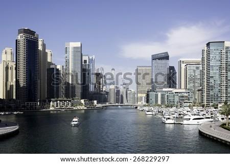 buildings city landscape of dubai marina - stock photo