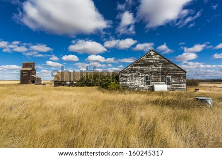 Buildings in an abandoned ghost town of Bents, Saskatchewan, Canada - stock photo