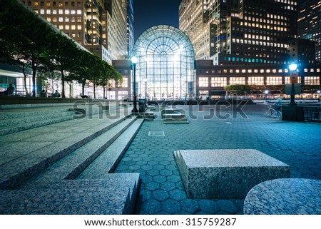 Buildings in Battery Park City at night, in Lower Manhattan, New York. - stock photo