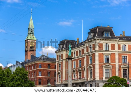 Buildings in Copenhagen city center - Denmark - stock photo