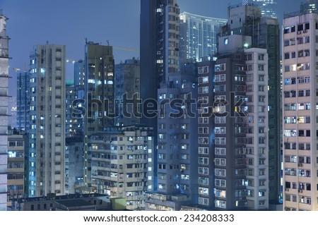Buildings in Hong Kong at night  - stock photo