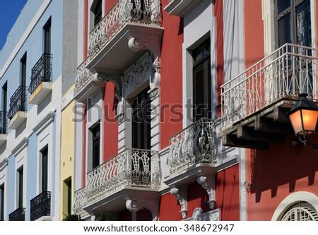 Buildings in Old San Juan, Puerto Rico - stock photo