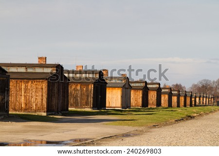 Buildings in the former German concentration camp in Oswiecim, Poland. Oswiecim was the largest German concentration camp in Europe during World War II. - stock photo