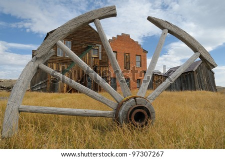 Buildings in the mining ghost town Bodie in California - stock photo
