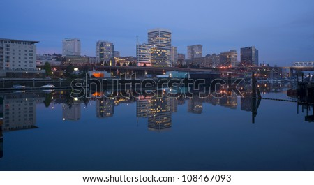 Buildings Line Thea Foss Waterway Downtown Tacoma Washington Waterfront - stock photo