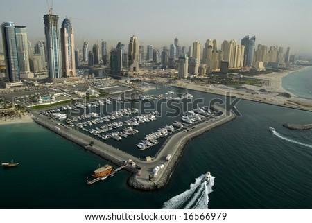 Buildings & Marinas In The Emirate Of Dubai - stock photo