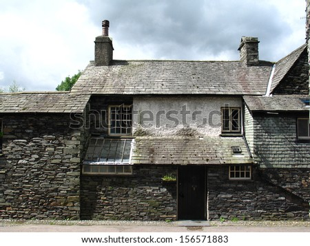 Buildings near Dove Cottage. It was the home of William Wordsworth from December 1799 to May 1808, the years of his supreme work as a poet. - stock photo